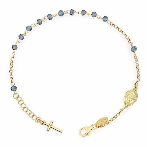Bracelet chapelet AMEN croix charm cristaux verts arg 925 doré s1