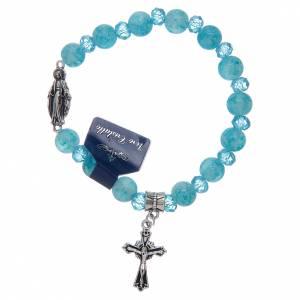 Bracelet chapelet avec grains en verre et cristal Miraculeuse divers coloris s1
