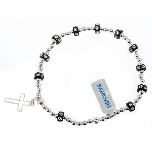 Bracelet élastique argent 800, swarovski noir s1