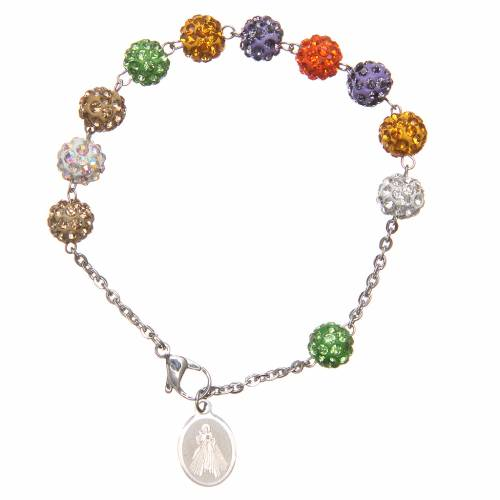 Bracelet grains multicolores brillants Medjugorje s2