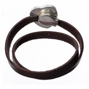 Bracelet image Vierge Marie cuir marron foncé s3