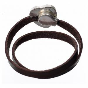 Bracelet in dark brown leather with Virgin Mary pendant s3
