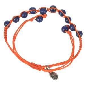 Bracelet Lapis-Lazuli Méd. Miraculeuse Arg 925 cordon orange s2