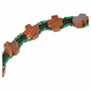 Bracelet Medjugorje corde noir et vert croix en olivier s3