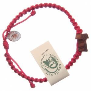 Bracelets, dizainiers: Bracelet Medjugorje croix olivier corde rouge