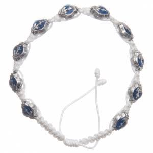 Bracelets, dizainiers: Bracelet Medjugorje émail bleu corde blanche