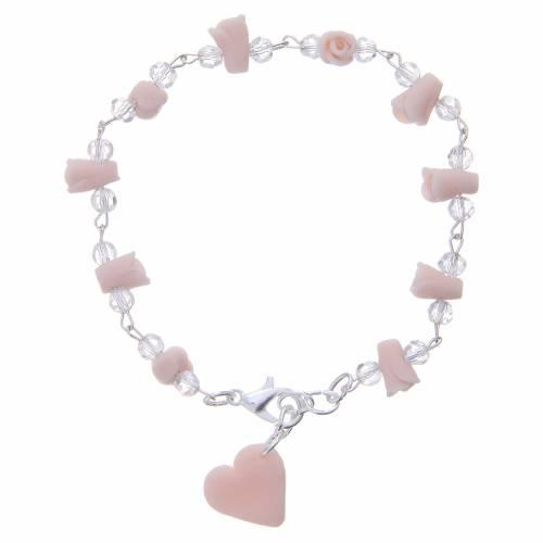 Bracelet Medjugorje rose grains cristal s2