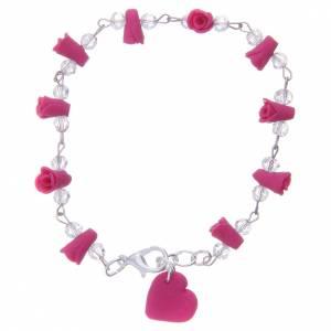 Bracelet Medjugorje roses et coeur céramique fuchsia s2