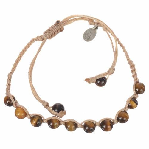 Bracelet Oeil de Tigre Méd. Miraculeuse Arg 925 cordon sable s1