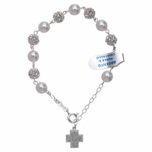 Silver bracelets: Bracelet One Decade rosary beads,  rhinestones pearl 800silver