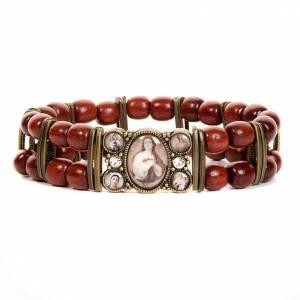 Bracelets avec images en bois: Bracelet-chapelet, sépia, paillettes