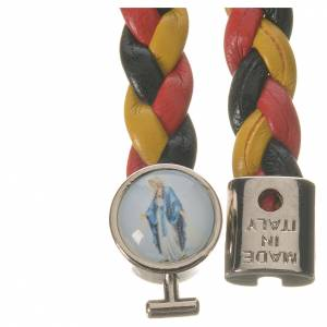 Bracelet tressé 20 cm Vierge Miraculeuse jaune/noir/rouge s2