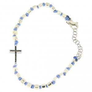Silver bracelets: Bracelet with black zircons, cubic spheres 2 mm and light blue knots