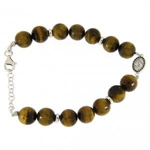 Silver bracelets: Bracelet with hard tiger's eye stone 9 mm, black zircon medalet in 925 sterling silver