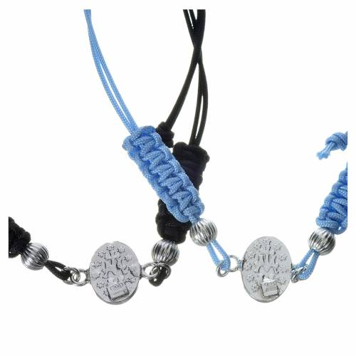 Bracelet with Miraculous Medal in 800 silver and cord s2