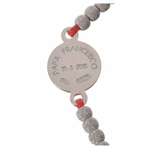 Bracelet with red cord and Pope Francis medal in 800 silver s3