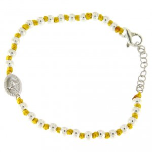 Silver bracelets: Bracelet with Saint Rita medalet and white zircons, with 3 mm spheres and yellow cotton knots