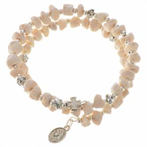 Bracelets, peace chaplets, one-decade rosaries: Bracelet with spring in white stone