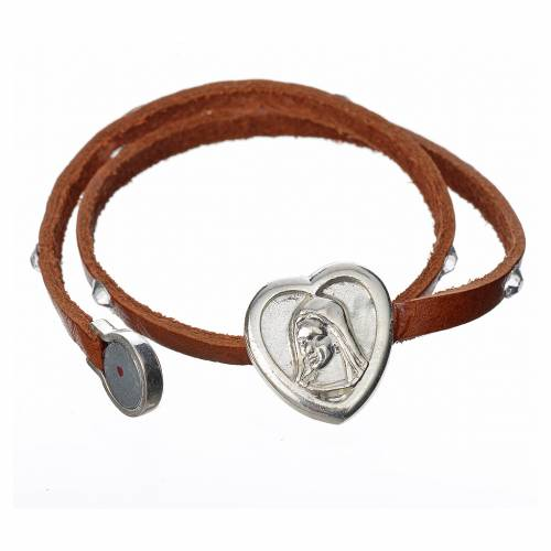 Bracelet with Swarovski in tan leather with Virgin Mary pendant s2