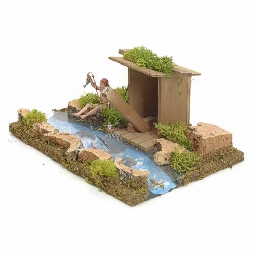 Bras de rivière avec cabane et pêcheur s2