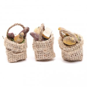 Miniature food: Bread and sausage baskets 3 pieces
