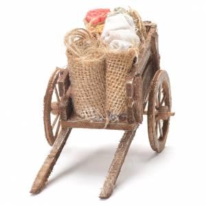 Brouette avec sacs et tissus crèche napolitaine 12x20x8 cm s4