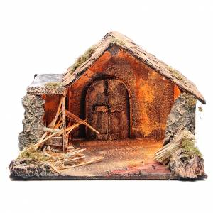 Bungalow like stable for Neapolitan Nativity 27x37x29cm s1