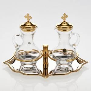 Burettes en verre et plateau doré nikelé s2