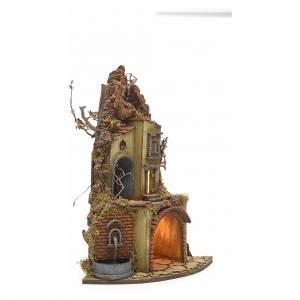 Burgo iluminado con establo y fuente pesebre napolitano s2