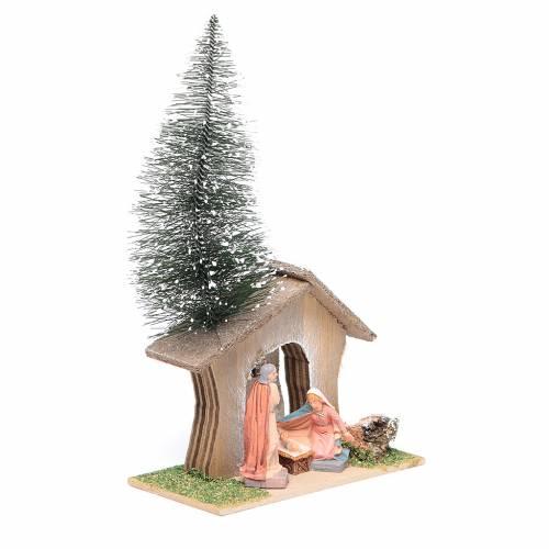 Cabane avec pin et nativité 22x13x7 cm s2