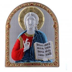 Bas reliefs en argent: Cadre bi-laminé avec arrière bois massif détails or Christ Pantocrator rouge et bleu 24,5x20 cm
