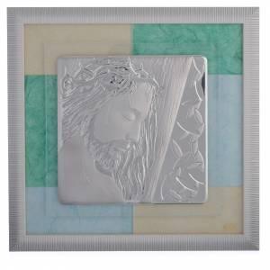 Bonbonnières: Cadre Christ bleu-vert 33x34 cm