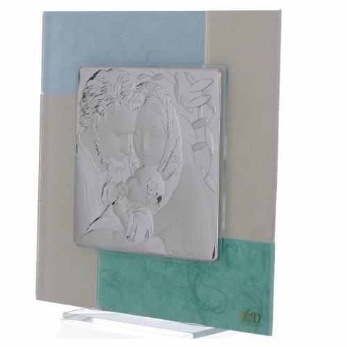 Cadre Mariage Ste Famille bleu-vert 20x20 cm s2