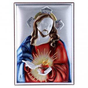Bas reliefs en argent: Cadre rectangulaire en bi-laminé avec arrière en bois massif Sacré Coeur de Jésus 18x13 cm