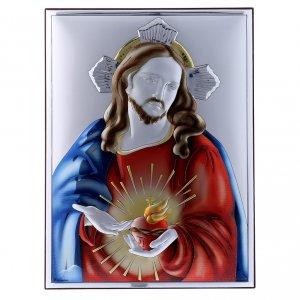 Bas reliefs en argent: Cadre Sacré Coeur de Jésus en bi-laminé avec arrière en bois massif 26x19 cm