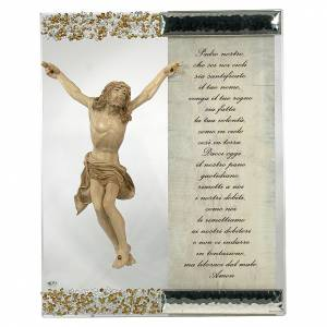 Bonbonnières: Cadre sculpture Christ argent cristal prière en ITA