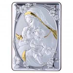 Bas reliefs en argent: Cadre Vierge Jésus et ange bi-laminé support bois massif finitions or 14x10 cm