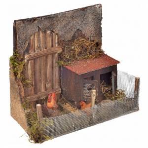 Cage avec poules crèche napolitaine 12x16x8 cm s2