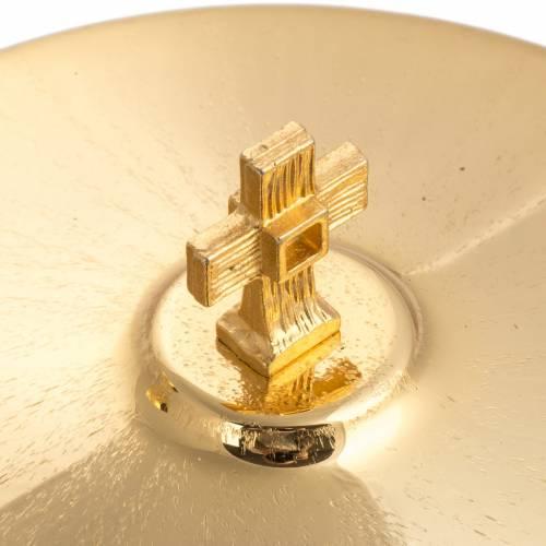 Calice e pisside ottone zigrinato dorato croce argentata s4