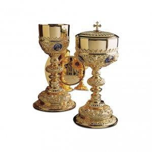 Calice Patena e Pisside Molina Barocco Sacra Famiglia ottone dorato s1