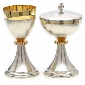 Cálices, Copones y Patenas metal: Cáliz y copón nudo dorado con strass bicolor