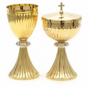 Cálices, Copones y Patenas metal: Cáliz y píxide estilo imperio dorado