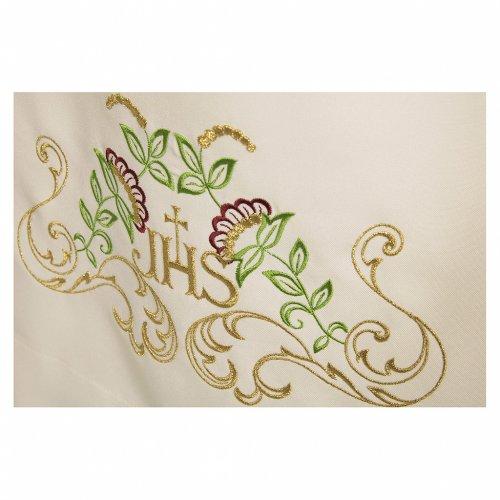 Camice avorio 100% poliestere croce decori floreali cerniera davanti s2