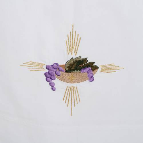 Camice bianco lana patena uva spighe s2