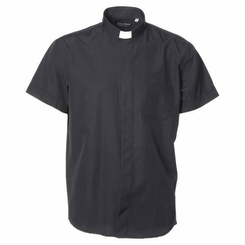 Camicia clergy cotone poliestere nero manica corta s1