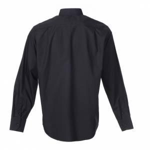 Camicia clergy M. Lunga tinta unita Misto cotone Nero s2