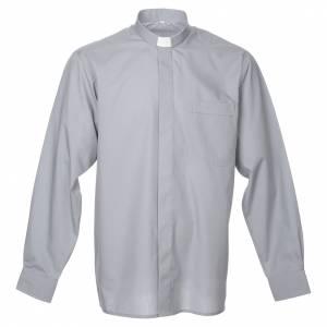Camicie Clergyman: Camicia clergy manica lunga misto grigio chiaro