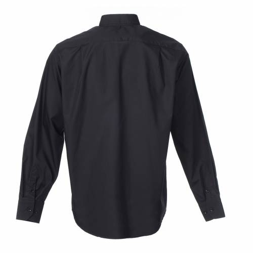 Camisa Clergy Manga Larga Color Uniforme Mixto Algodón Negro s2