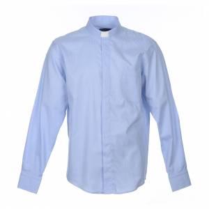 Camisas Clergyman: Camisa Clergy Manga Larga Línea Prestige Mixto Algodón Celeste