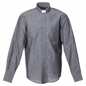 Camisas Clergyman: Camisa clergy sacerdotal lino algodón gris manga larga